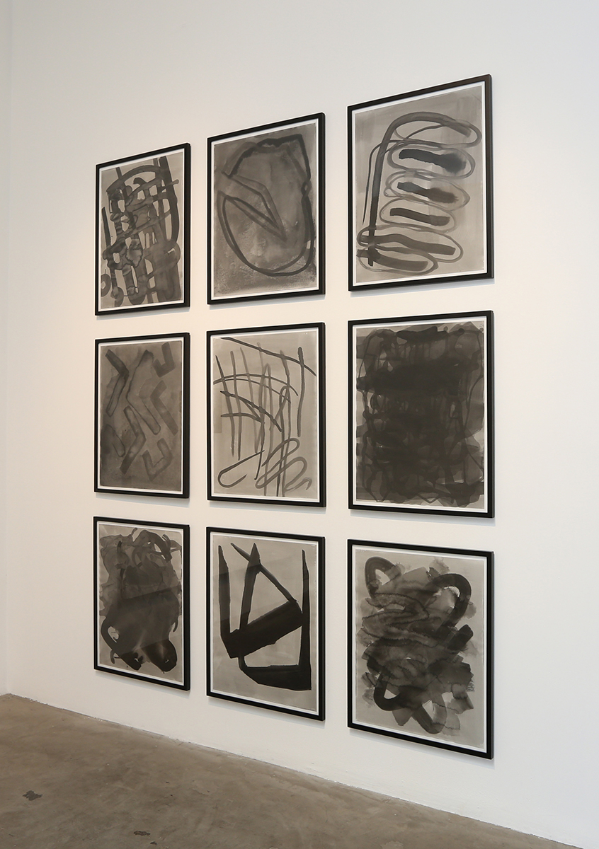 9 framed drawings, ink on bristol paper, 2014, 28 1/2 x 22 ½ inches