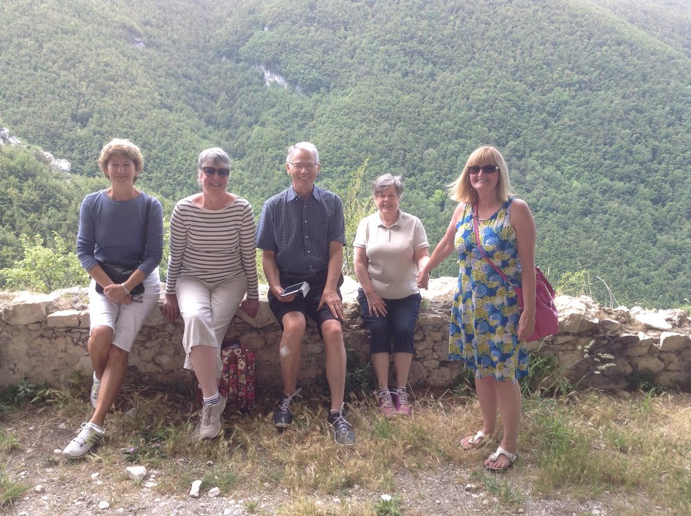 This photo taken on one of our tours during our week-long vacation at Villa Abruzzo in June 2016 . From right: Janet and Caroline, two sisters from the UK., with Brian, Sandy and Annabelle, new found Canadian friends.  We were so happy that a random google search looking for a tour in Abruzzo guided us to your website.  We enjoyed everything about the whole experience, though one of our highlights was going to the truck stop for porchetta sandwiches for lunch - much to the amusement of the truckers - and buying fresh cherries from the roadside fruit stall as dessert, all washed down with ice cold beers.  Perfetto in every way.  Thank you Lisa and Jake for letting us share your little slice of paradise.   Janet Whitehead and Caroline Garnett