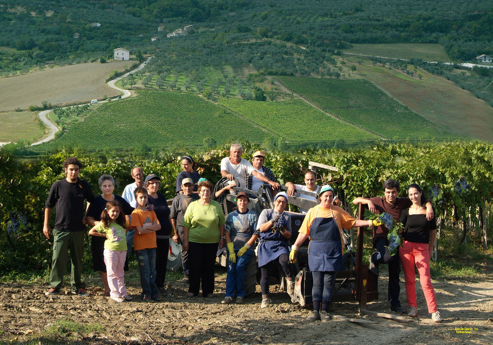 The Guardiani family at harvest time a few years ago.