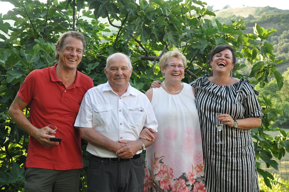 We had a stay at the villa in Torre de'Passeri and in the Abruzzo region last July that exceeded all our expectations. The meals, the day trips and the warmth of staff were quite remarkable given the weekly cycle of new groups coming to Lisa and Jake's place. We were welcomed - we two and our two grandchildren. Our grand daughter, Erin, age 12, was so engaged and had so much affection showered on her, that she cannot stop talking about her time there. Eva, Cesidia, Lisa and Nora took to her as one of their own. We cannot say enough for that. What is especially memorable for my wife Helen and I was the ceremony and accompanying dinner for the 50th anniversary renewal of our marriage vows. It was way over anything we could have contemplated. The ceremony held in backyard was full of grace, and for us, solemn. The other guests participated as witnesses and gave us toasts and gifts. The evening's dinner was quite simply one of the best dinners we have ever had anywhere. And we have had some good dinners! I really appreciated the hug Nora gave him in the piazza of Villalago. Erin will never forget her introduction to morning cappuccino and the hours in the pool, Helen the constant welcome through the week and our grandson Daniel, his first official wine tasting at the Guardiani & Farchione home in Tocca da Casauria. We cannot forget Orazio, Angela, Luca and Giuseppe. The picnic (an understatement), the tours to all sorts of exotic places - we could go on. Awesome, just awesome. David and Helen Mulcaster