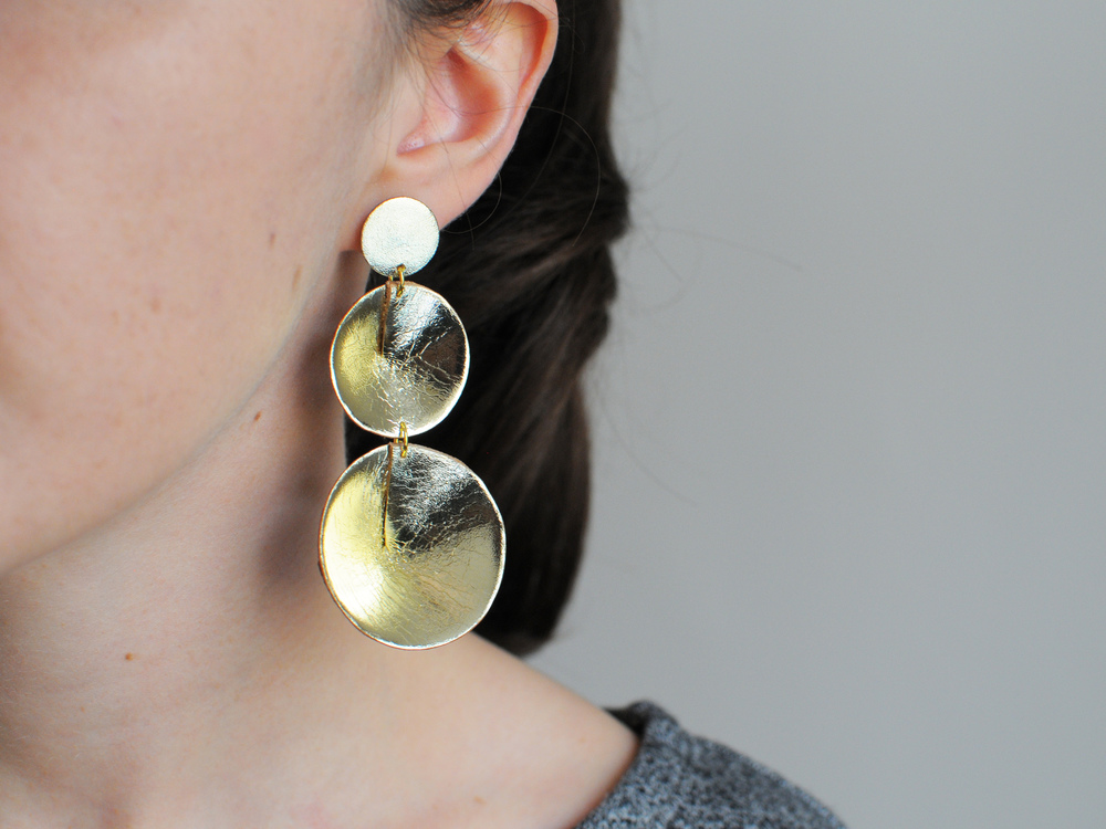 Handmade gold leather three cone statement earrings