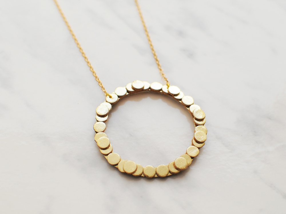 Handmade gold leather hoop circle necklace