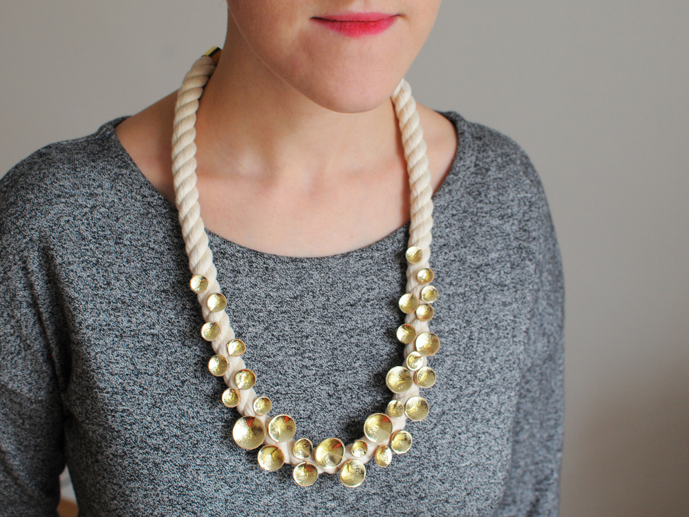 Handmade long gold leather cone cluster statement necklace