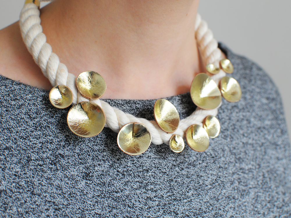Handmade rope and gold leather cone collarbone necklace