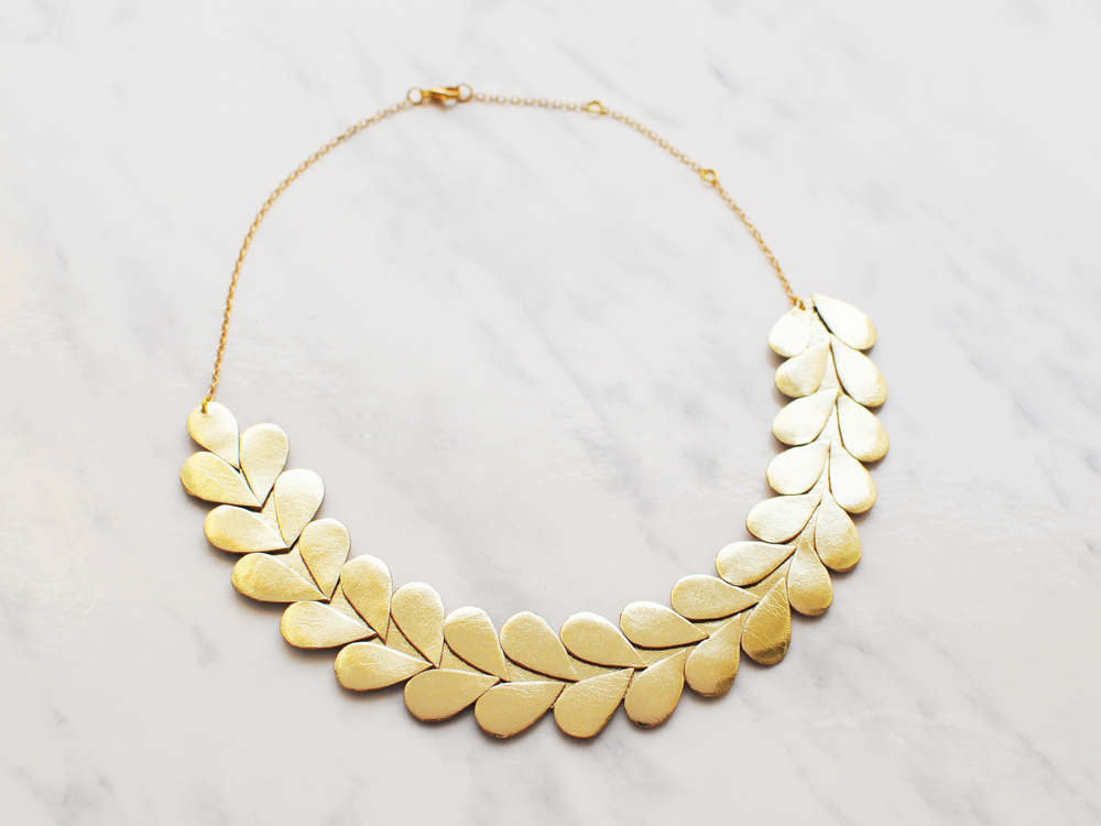 Handmade gold leather laurel leaf necklace