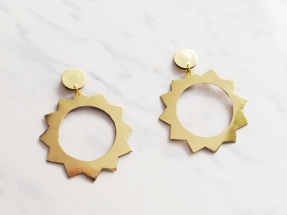 Handmade gold leather sun hoop earrings