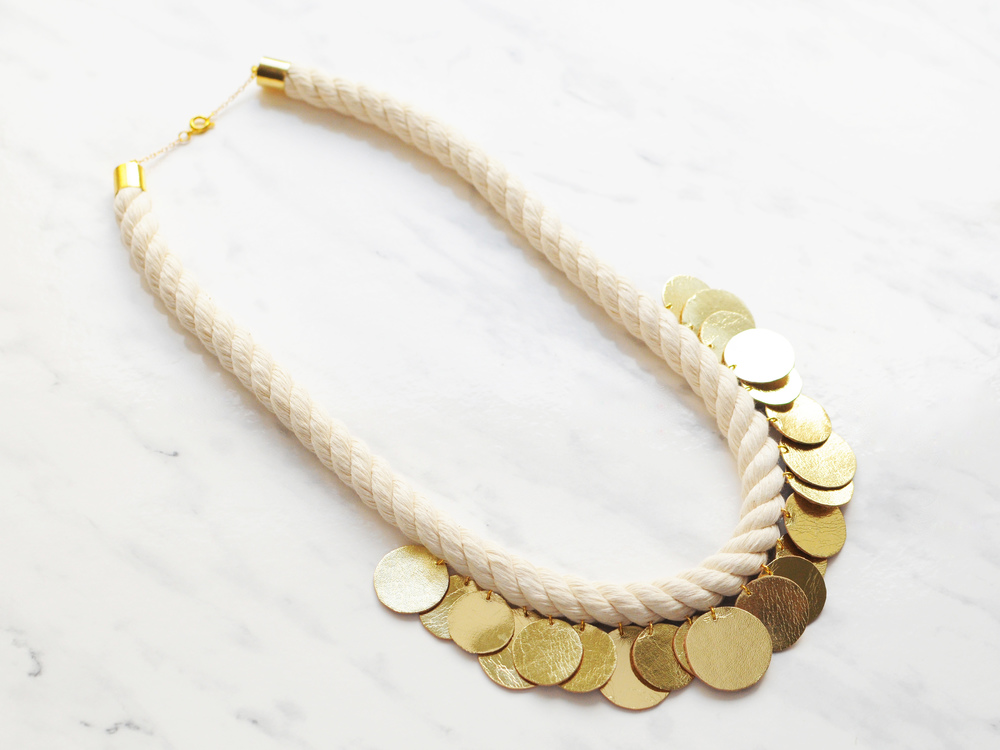 Handmade gold leather disk / circles and rope necklace