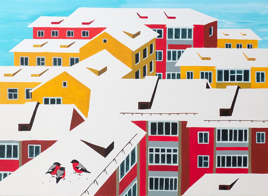 Разноцветные дома (х., акрил, 50*70 см, 2015)