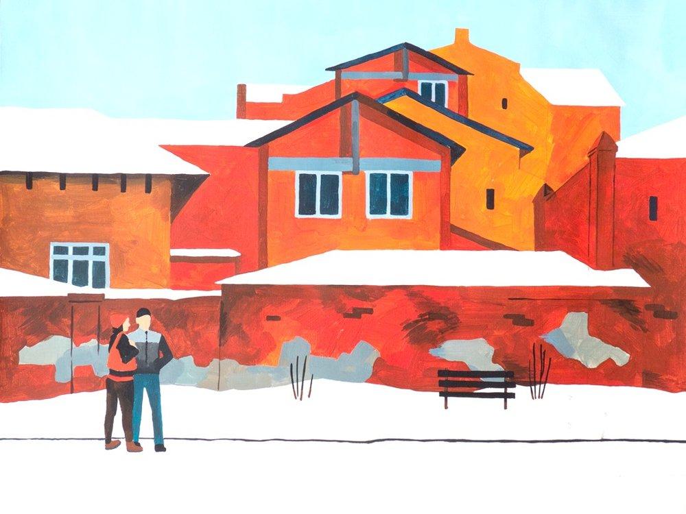 """Разноцветные дома. На остановке """"Бытовая"""" (бум., акрил, 70*50 см, 2015)"""