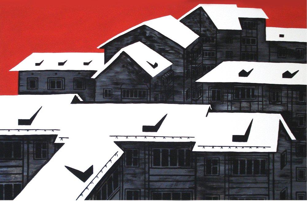 Белые крыши II (бум., акрил, 50*75 см, 2015)