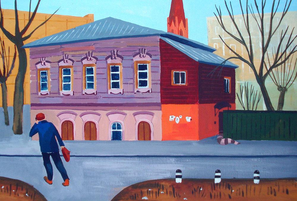 """""""Розовый дом. Иркутск"""", картон, акрил, 40х50 см, 2015"""