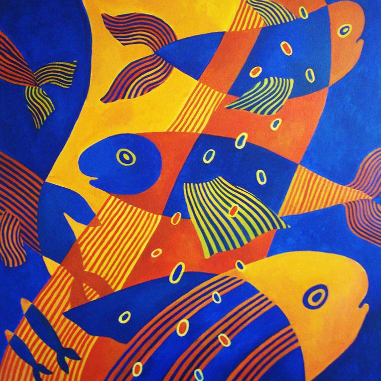 """Полосатые рыбы"", х, акрил, 100х100 см, 2014"