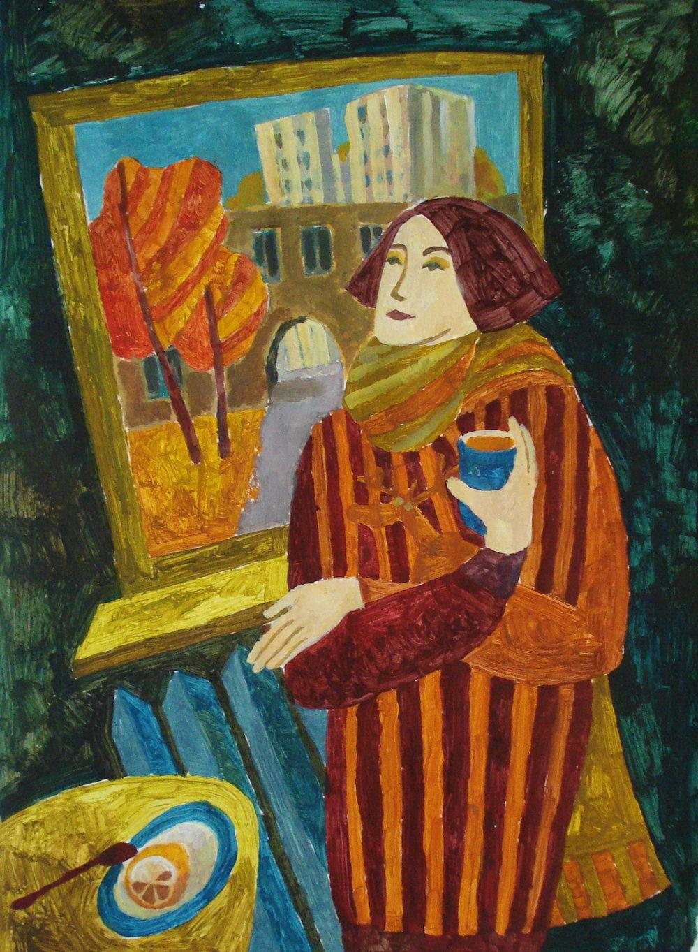 """""""Ноябрь в окно"""", бум., акрил, 80х60 см, 2014"""