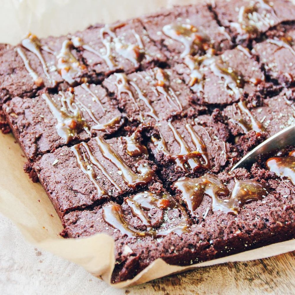 VEGAN CHOCOLATE PEANUT BUTTER BROWNIES + SALTBUSH CARAMEL
