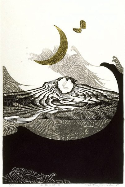 By Reika Iwami - New moon and sea - C