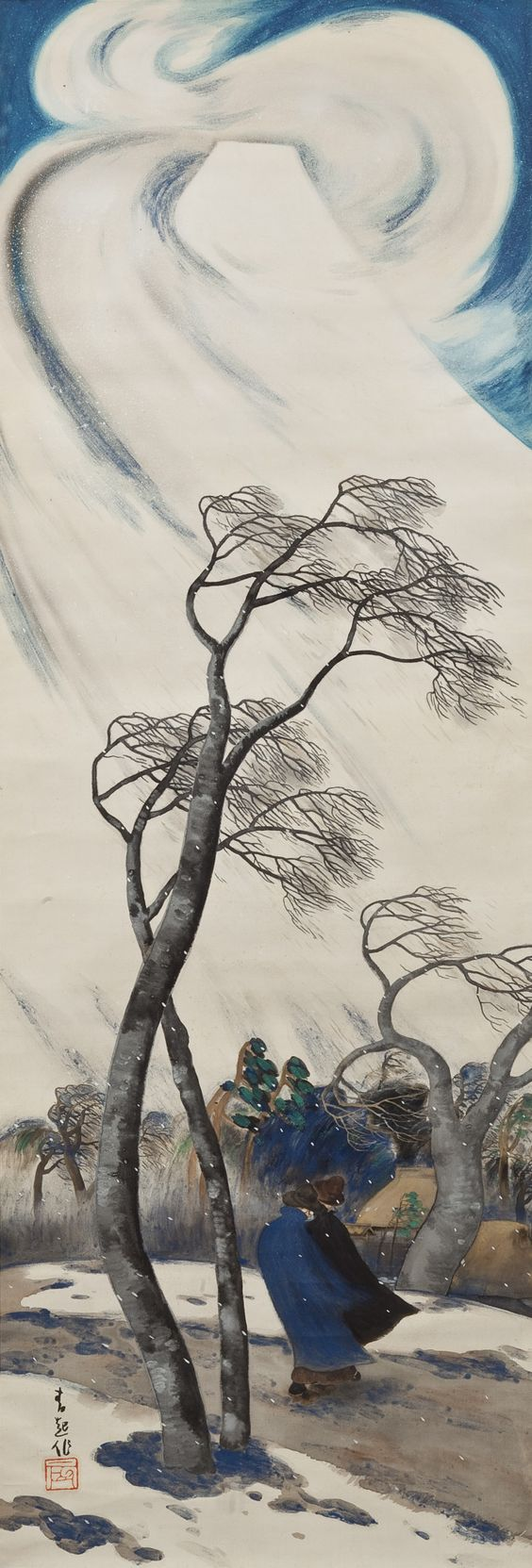 Wind Blowing from Mt. Fuji by Hosokibara Seiki (1885-1958) Japan