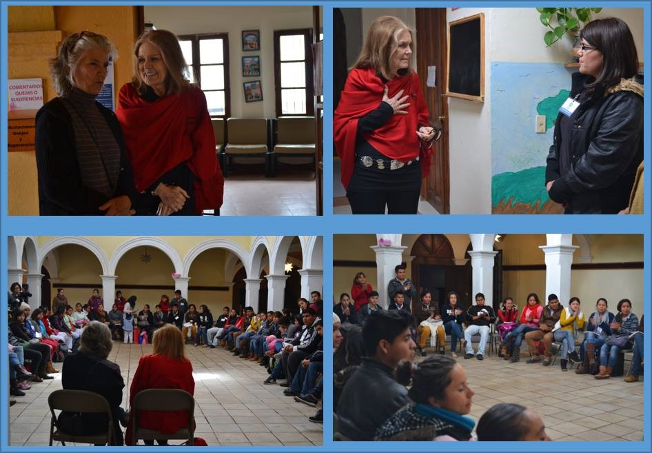Gloria Steinem at CASA with Nadine Goodman and students, January 2015