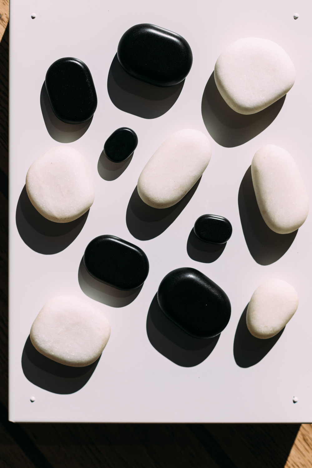 Abstract of black and white hot stones at the Ellerman House Spa