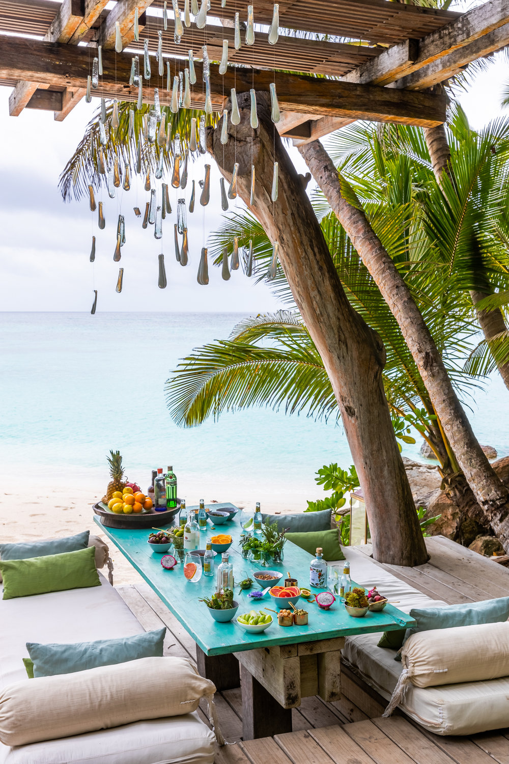 A unique craft gin tasting with endless ocean views at the Piazza on North Island, Seychelles