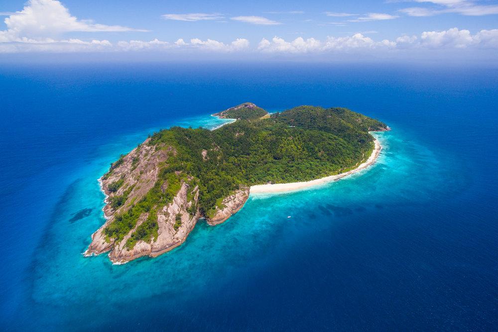 North Island, Seychelles - West Beach Bar's location on private island