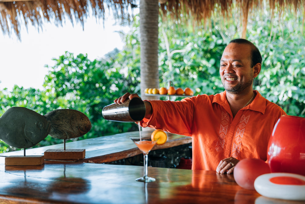 Bartender Fiorello at West Beach Bar on North Island