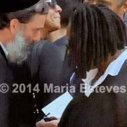 "Whoopie Goldberg and Rabbi Gruber. From Epoch Times' ""Joan Rivers Memorial Service Photos,"" courtesy Maria Esteves"