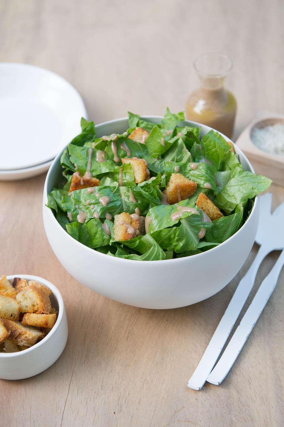 Vegan Caeser Salad with Homemade Croutons. Vegan, Gluten free option.