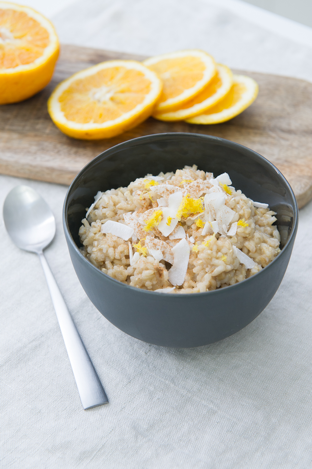 Orange and Ginger Brown Rice Pudding. Dairy free, Vegan.