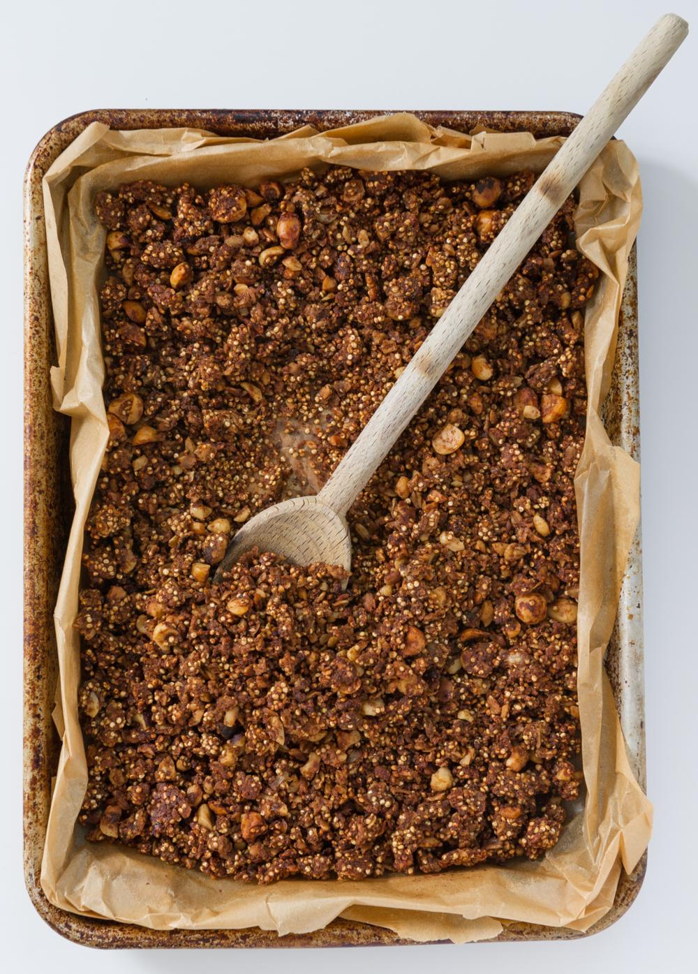 Hazelnut, Orange & Cacao Quinoa Granola. Vegan, Gluten free.