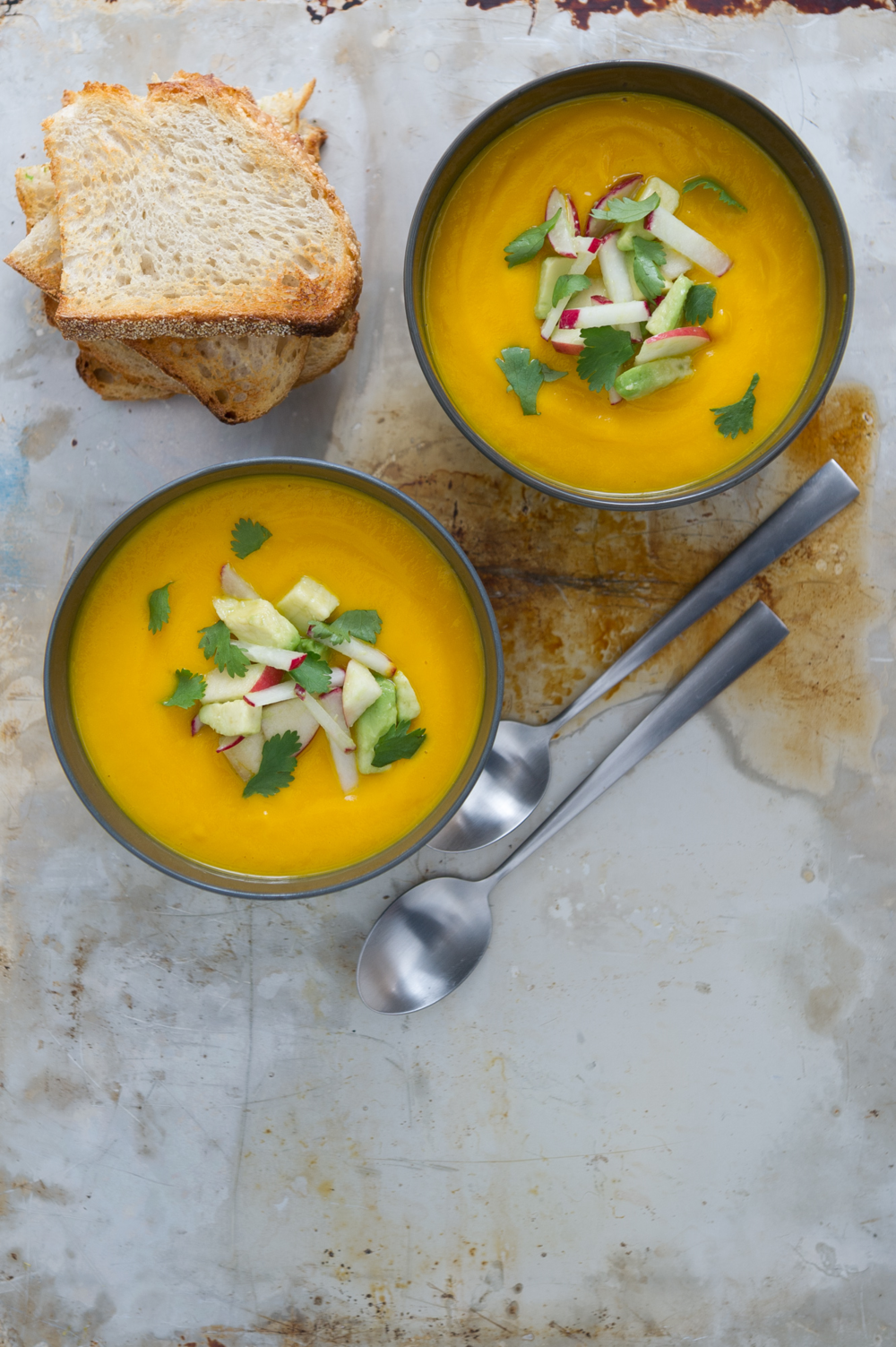 Carrot, Ginger and Lime Soup with Radish, Apple and Cilantro. Gluten free, Vegan.