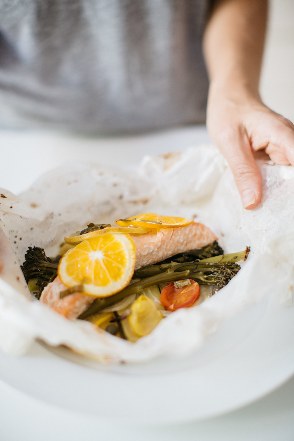 Salmon en papillote with summer vegetables. Gluten free, Pescetarian, Dairy Free.