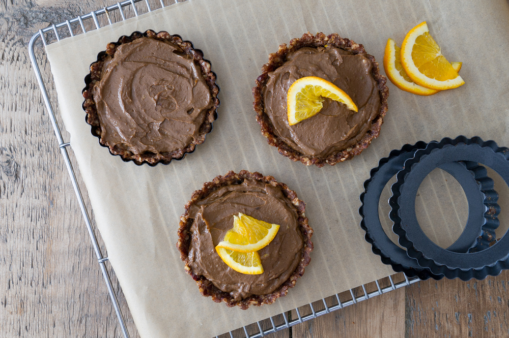 Raw, Salted Orange and Hazelnut Mousse Tart. Raw, Vegan, Gluten free.