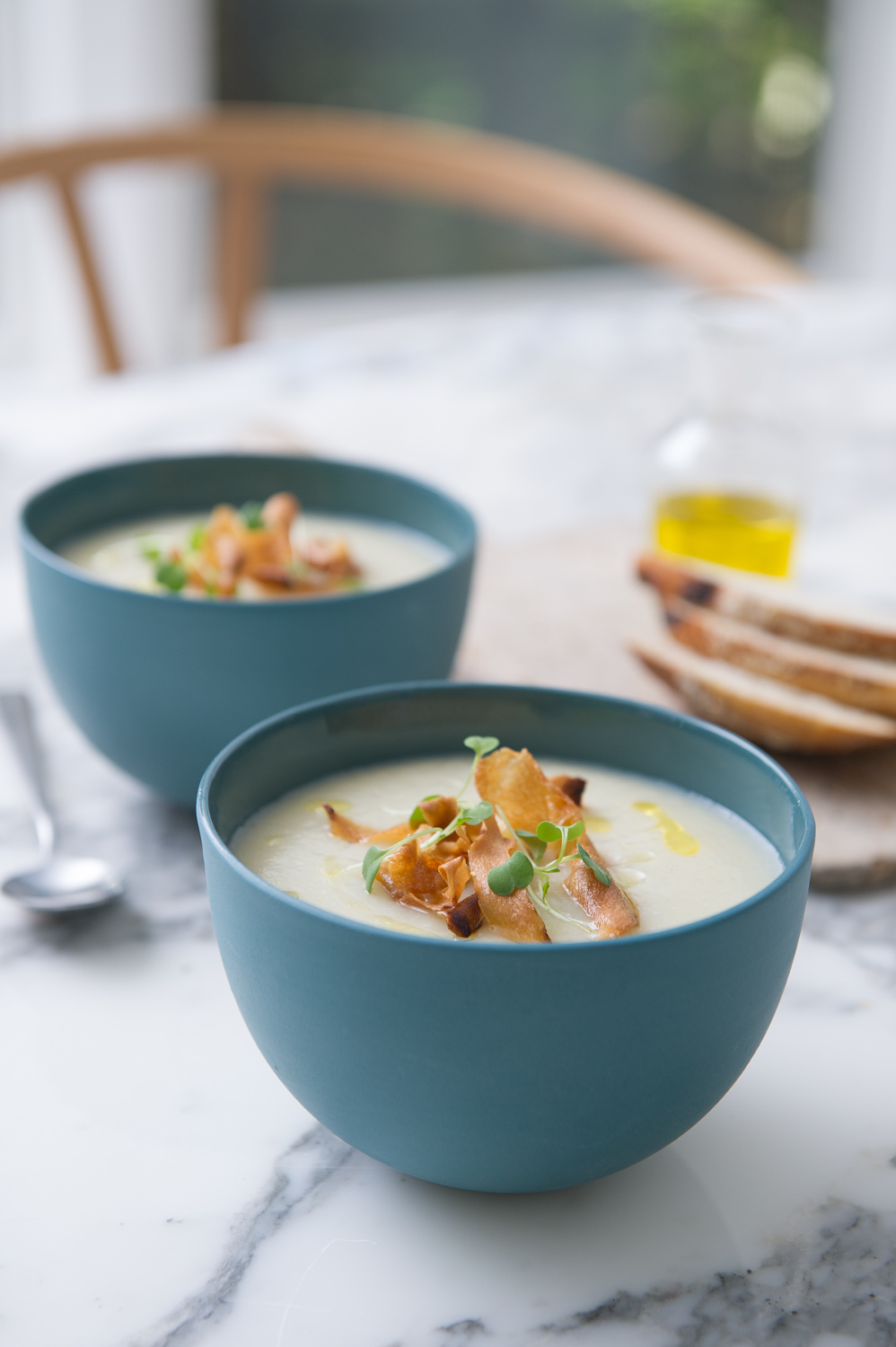 Cauliflower, Pear and Fennel Soup with Parsnip Chips. Vegan, Gluten free.