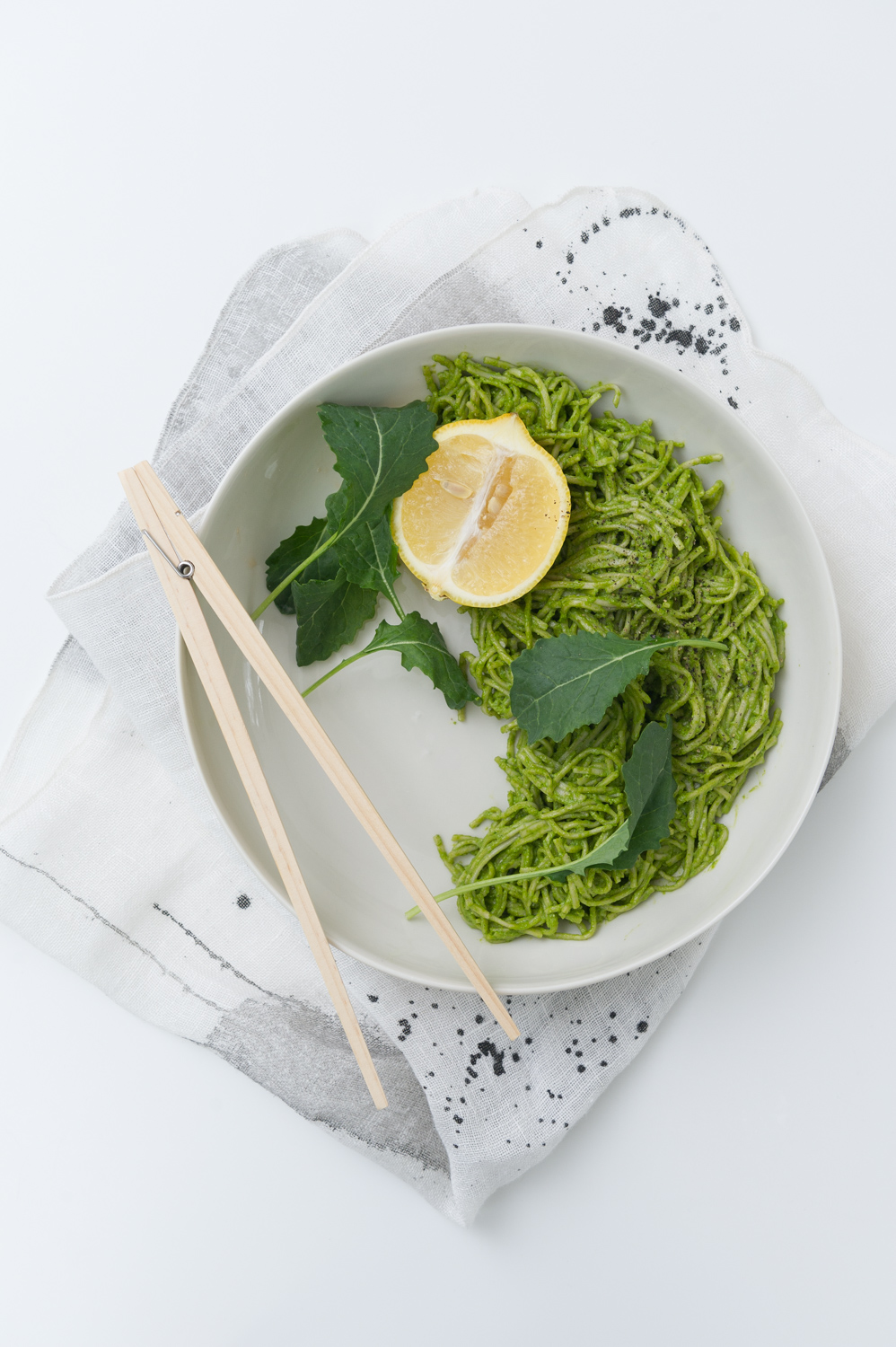 Soba Noodles with Lemony Kale & Hemp Seed Pesto. Gluten free. Vegan with a pescetarian option. Dairy free.