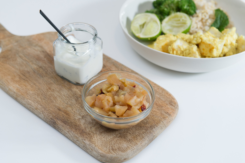 Coconut Fish Curry with Mint Raita & Apple Lime Chutney. Pescetarian. Gluten Free. Dairy Free.