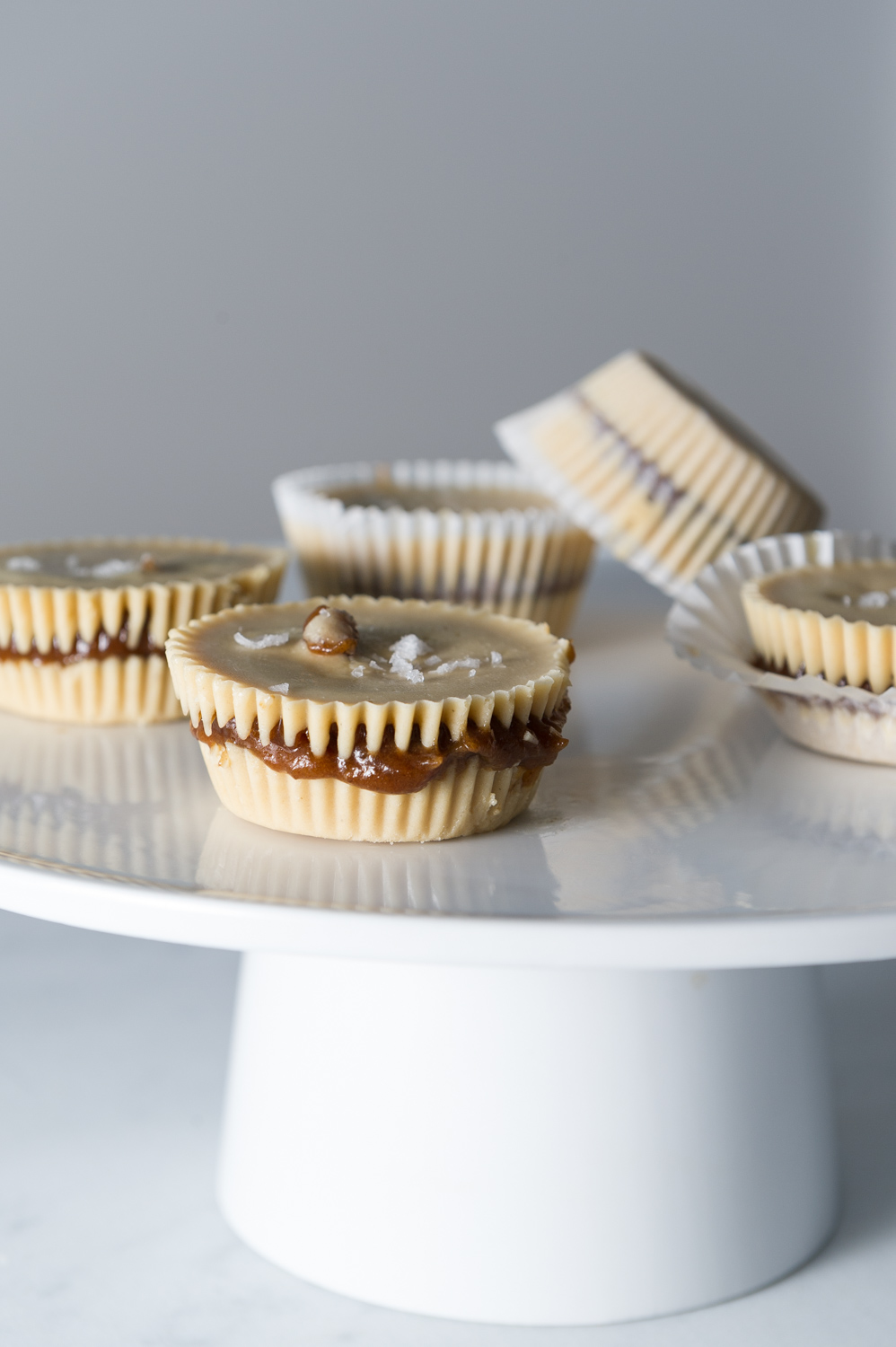 Salted Tahini Cups with a Ginger and Cardamom Coffee Filling