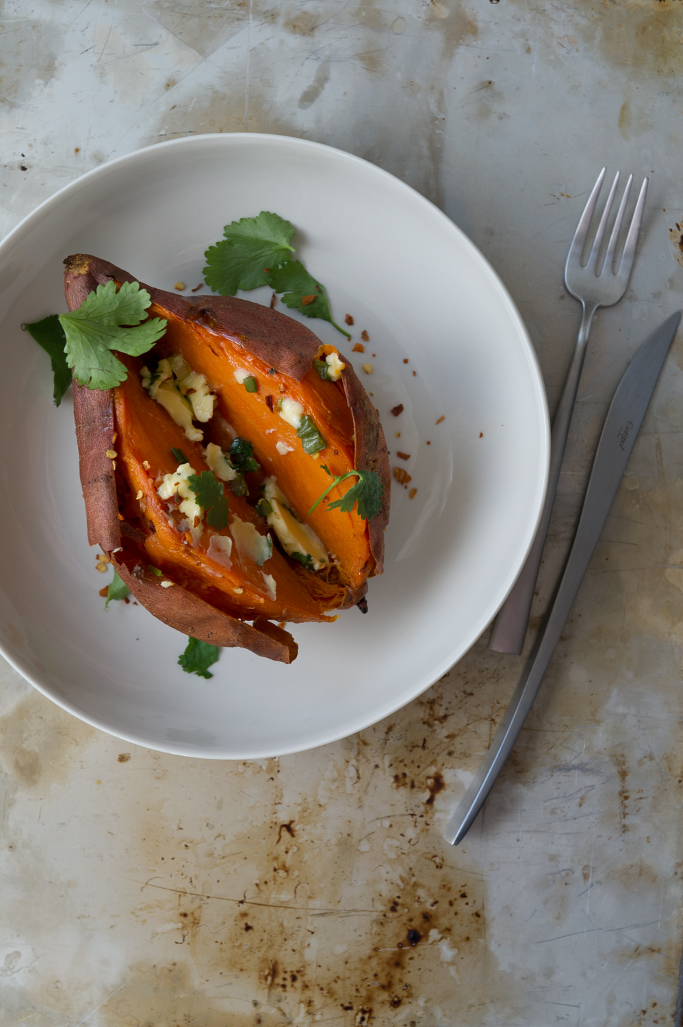 4 Baked Sweet Potato Ideas: With Chilli + Lime Butter. Vegetarian, Gluten Free, Dairy Free, Vegan.