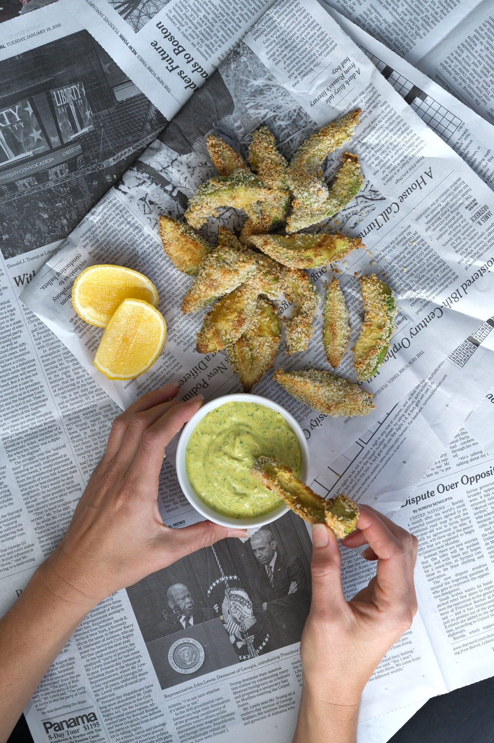"Avocado ""fries' with a curry lime dip"