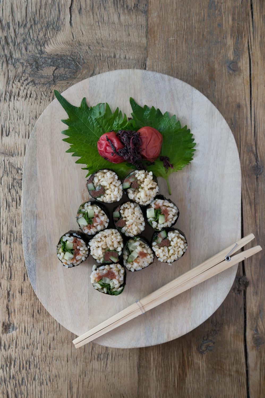 Ume Shisho Brown Rice Sushi.Dairy free. Gluten free. Vegan.