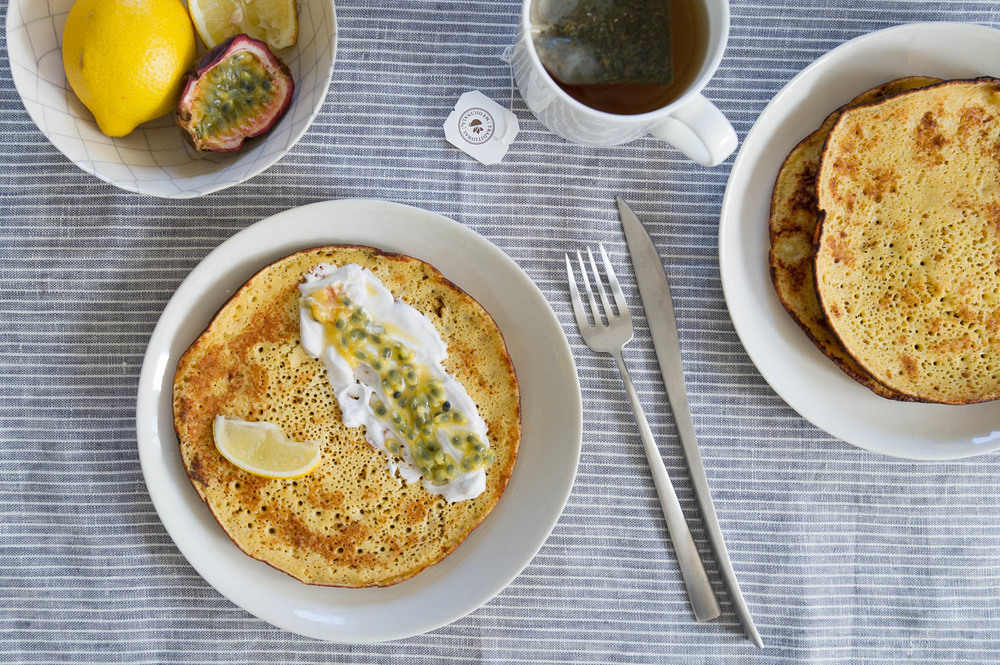 gluten free quinoa lemon pancakes with passionfruit
