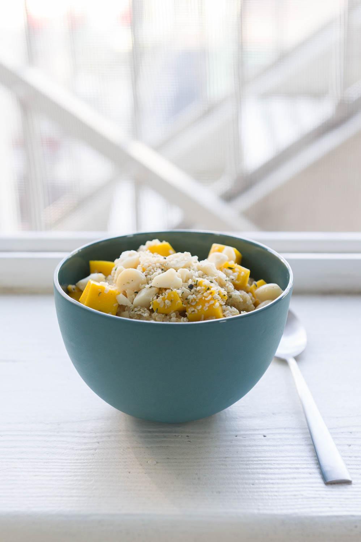Sticky Quinoa Porridge with Mango, Coconut and Lime