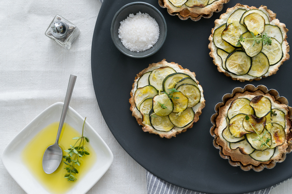 Gluten Free Zucchini and Thyme tarts with lemon zest ricotta recipe by Heather Cox of Eat Real Food