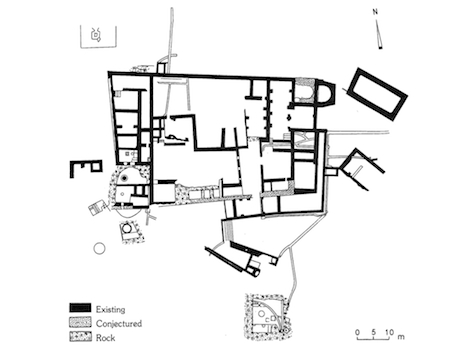 """Plan of the monastery at Khirbet Syar el-Ghanam from The New Encyclopedia of Archaeological Excavations in the Holy Land, s.v. """"Monasteries."""""""