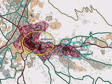 Map of greater Bethlehem area showing urban build up and connecting routes. Bethlehem is in the yellow circle; Bayt Sahour is in the light blue circle. The dashed line at the top of the map represents the path of the security barrier that isolates the West Bank from Jerusalem. Image from  here .
