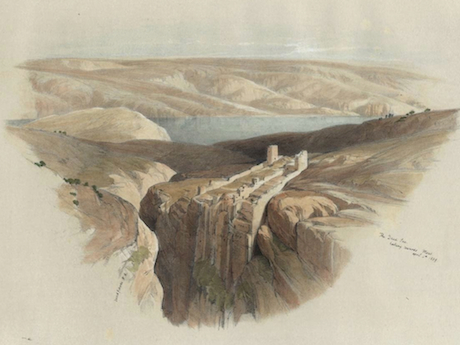 David Roberts' presentation of Mar Saba is stunning. The monastery is perched on the edge of a yawning canyon. The Dead Sea is pictured in the distance. Roberts traveled through the Near East between 1838 and 1840. Upon his return to Scotland he transformed his sketches and memories into a series of lithographs that remain popular to this day. This lithograph was lifted from  here .