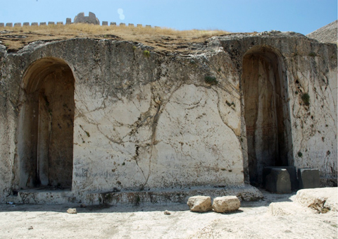 The niche on the right is where the inscription above was photographed. Notice the dark colored blocks on the ground. These too have inscribed faces.