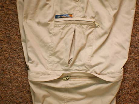 Leg detail showing zip-off join at knee and zippable cargo pocket.
