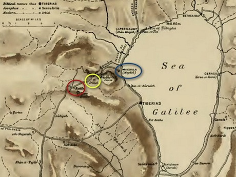 1903 map of Eastern Galilee. Horns of Hattin (red), Arbella (yellow), and Magdala (blue) are circled. Note the path of the highway that passes by each of these villages. Map is fromhere.
