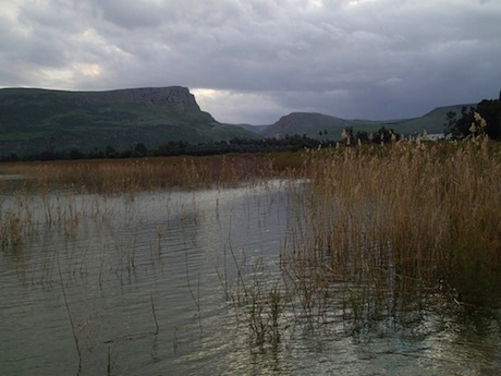 View from the Sea of Galilee to the cliffs of Mt Arbel (left of center). Arbella rests on the plateau above. The Wadi Hamam yawns in the center and Mt Nitai, named after the famous teacher from the pages of Pirke Avoth, looms to the right.