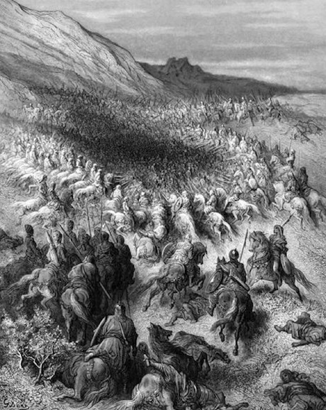 "Artistic reconstruction of the battle. One could label it either ""Roasted Franks"" or ""The Crusader's Alamo.""  Source ."